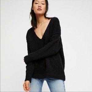 NWOT FP Lofty V-Neck Sweater in Black size S
